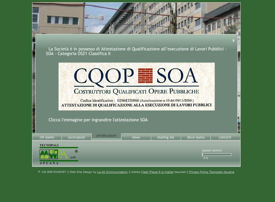 Tecnopali Apuana website 2007